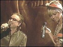 Bono, de U2, y Beyonce Knowles