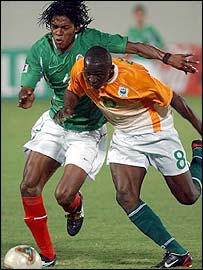 The Ivory Coast's Arouna Kone in action against Mexico