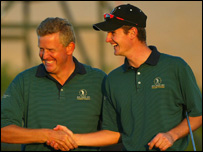 Colin Montgomerie (left) congratulates Justin Rose