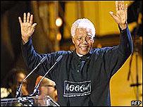 Nelson Mandela, recibiendo su largo aplauso.
