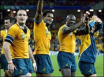 Australia celebrate victory over Scotland