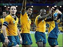 Australia celebrate victory over Scotland