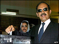 President Taya seen casting his vote on 7 November