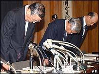 Ashikaga bosses bow after declaring their bank was bankrupt