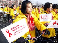 Aids awareness rally in China, 2002