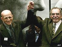 Rubem Fonseca (l) and Gabriel Garcia Marquez