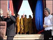 King Norodom Sihanouk with Queen Monineath at independence day celebrations