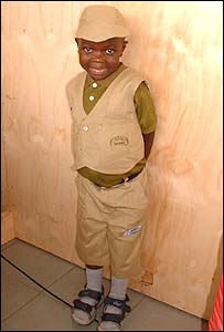 Noah, aged seven, from Jajja's Home at the Mildmay Centre just outside Kampala.