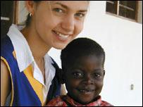 Physiotherapist Nicki Pearson with three-year-old Jacob, Mildmay Centre, Uganda
