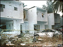 The blasts caused widespread damage at the compound