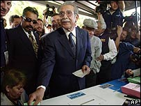 Guatemala's former military leader Efrain Rios Montt seen voting