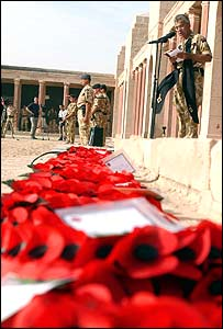 A Remembrance Service at the Sheibah War Memorial on the outskirts of Basra, Iraq