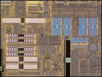 Close-up of AMD 64-bit chip, AMD