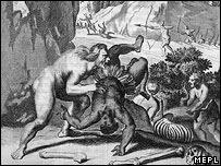 Sixteenth century woodcut of Brazilian cannibal attacking his victim