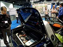 Electric car on display at California exhibition