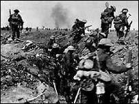Trench scene from the Somme in World War I