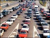 Queuing motorway traffic   PA