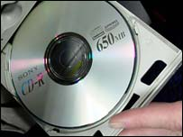 Recordable CD in computer drive, BBC