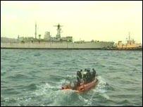 HMS Scylla back in Plymouth
