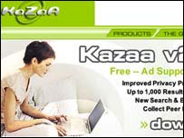 Kazaa homepage, Kazaa