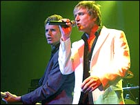 Duran Duran's John Taylor (left) and Simon Le Bon