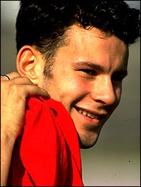A 17-year-old Ryan Giggs smiles