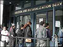 Queuing to register with US immigration