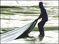 Groundstaff were quick to act when the heavens opened