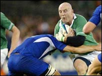 Keith Wood kept battling right to the end in Sunday's game against France