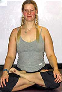 Louise Noyes in lotus position