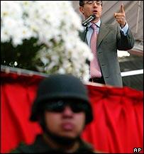 President Alvaro Uribe in Bogota, Colombia