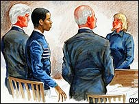 A courtroom sketch of the start of Mr Malvo's trial