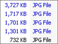 Grab of image file sizes, BBC