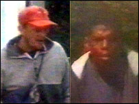 Pictures of two men wanted by police