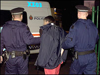 Police with arrested man after Operation Reuss raids