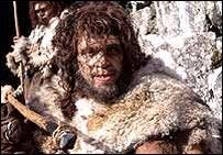 Representación de un neanderthal en video de la BBC