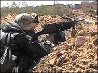 US marine on the frontline in Nasiriya, March 2003