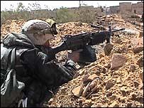 US marine on the frontline in Nasiriya, March 2003