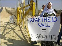 A Palestinian woman demonstrates against the barrier