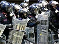 Italian carabinieri on riot control duty in Genoa