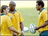 Former league stars Mat Rogers, Wendell Sailor and Lote Tuqiri