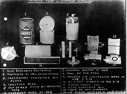 Equipment carried by German agents included bomb hidden in can of French peas.