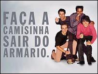 Aviso publicitario de la campaña contra el SIDA en Brasil.