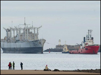 The first of the former US Navy ships to dock in the UK