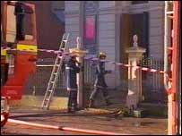 Firefighters entering Tabernacle Chapel