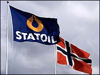 Statoil and Norwegian flags