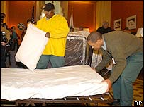 Capitol Hill workers prepare beds for senators