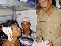 Injured passengers complain to the police