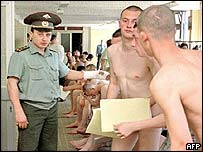 Recruits at an enlistment office