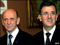 Svetozar Marovic (R) and Bosnia's representative in the presidency Suleiman Tihic